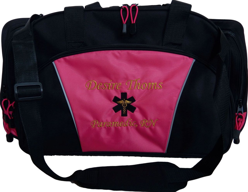 Star of Life Caduceus HOT TROP PINK DUFFEL EMT EMS Paramedic First Responder Personalized Embroidered Font Style MONO CORSIVA