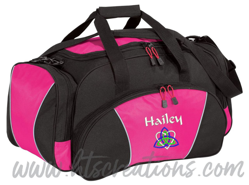 Celtic Heart Trinity Knot Ireland Irish Dance Personalized Embroidered HOT PINK Duffel Bag Font Style CALLIGRAPHY
