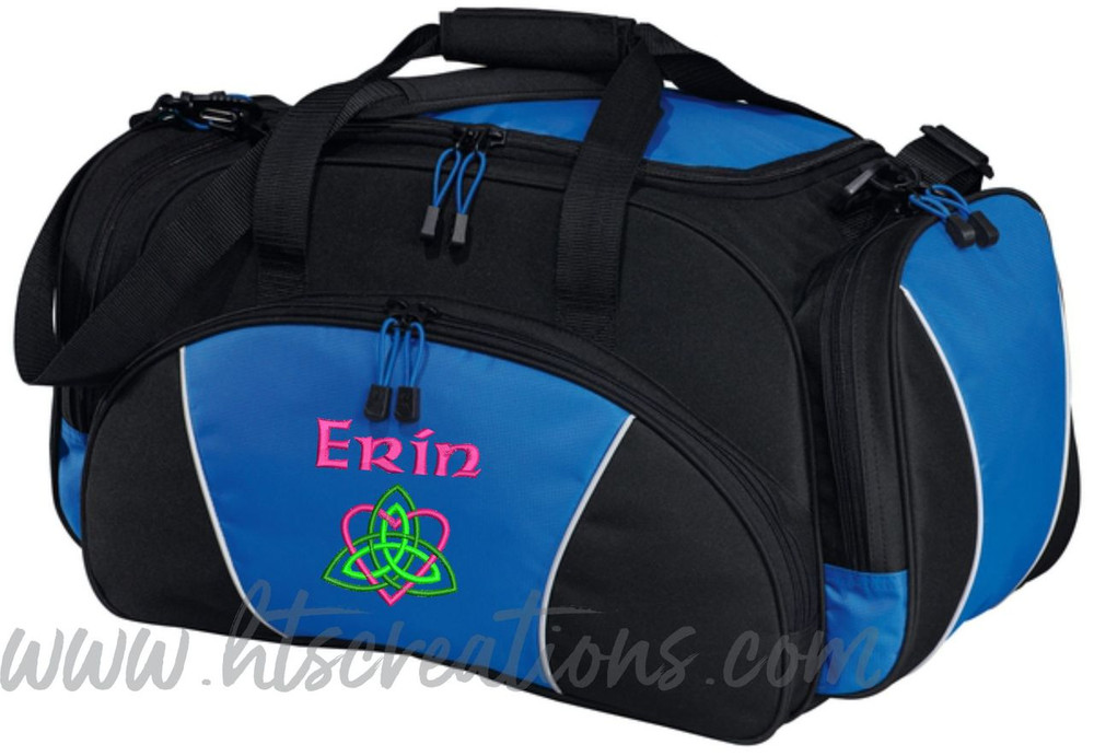 Celtic Heart Trinity Knot Ireland Irish Dance Personalized Embroidered ROYAL BLUE Duffel Bag Font Style CELTIC