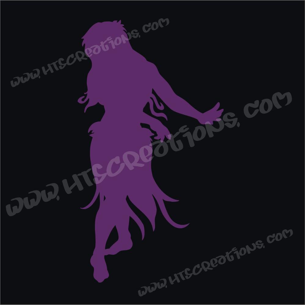 Hula Dancer Hawaiian Vinyl Decal Purple