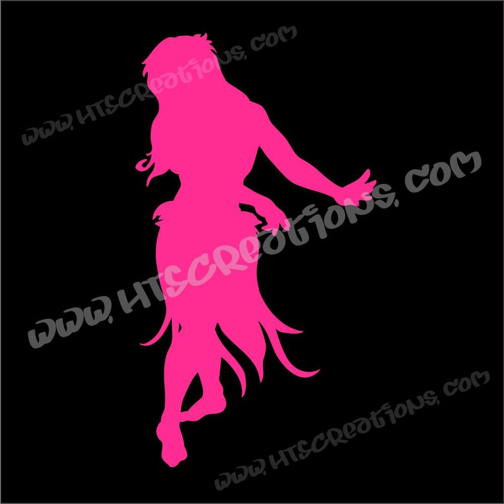 Hula Dancer Hawaiian Vinyl Decal Hot Pink
