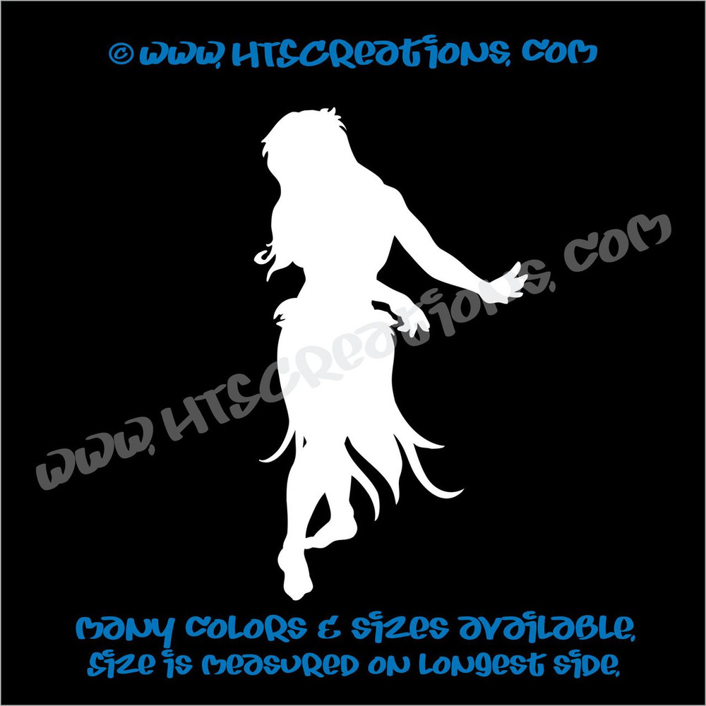 Hula Dancer Hawaiian Vinyl Decal WHITE