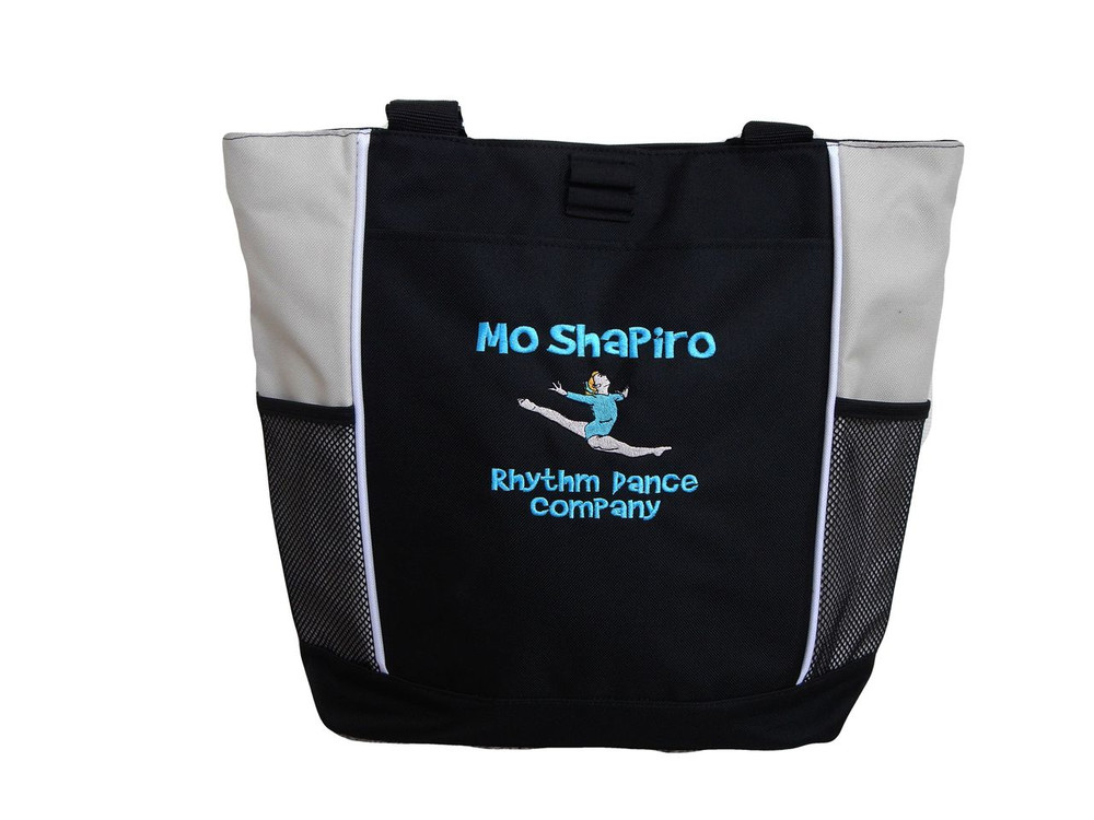 Gymnast Leaping Gymanstics Leaping Splitz STONE Zippered Tote Bag Font Style BRADY BUNCH