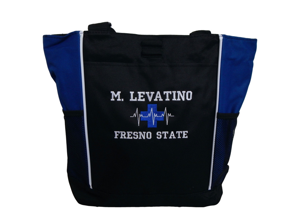 Heartbeat First Aid Cross EKG Medical Nursing Nurse EMT Paramedic ROYAL BLUE Tote Bag Font Style VARSITY