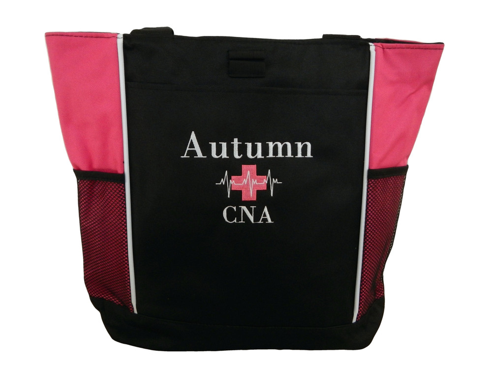 Heartbeat First Aid Cross EKG Medical Nursing Nurse CNA LPN Paramedic HOT PINK Tote Bag Font Style BODINI