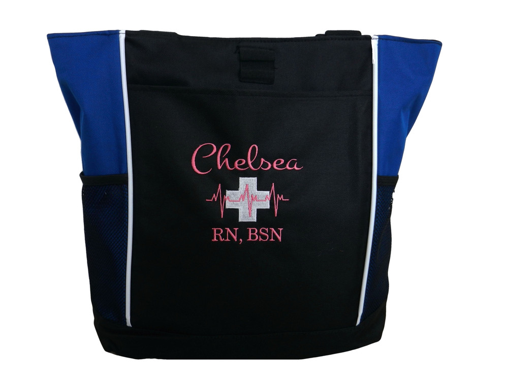 Heartbeat First Aid Cross EKG Medical Nursing Nurse ER RN BSN Paramedic ROYAL BLUE Tote Bag Font Style MONTE CARLO and BODINI