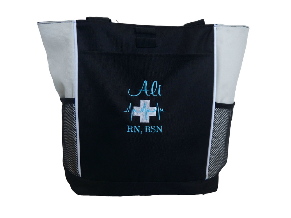 Heartbeat First Aid Cross EKG Nursing Nurse RN BSN NICU Cardiology Medic EMT STONE Tote Bag Font Style CASUAL SCRIPT and BODINI