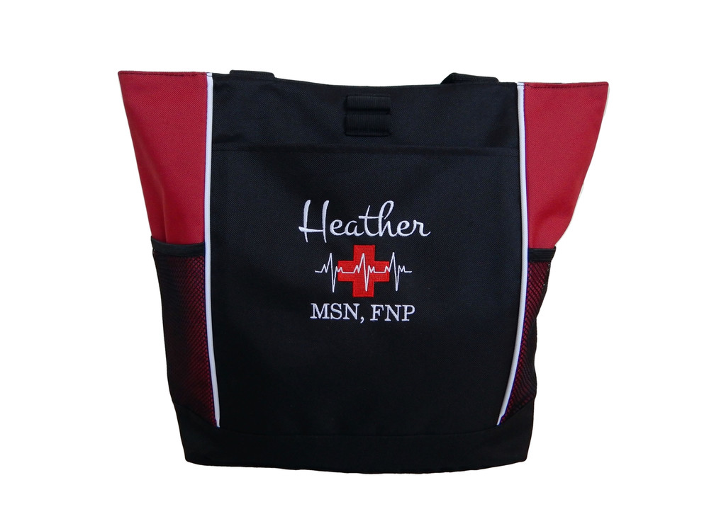 Heartbeat First Aid Cross EKG Red Family Nurse Practitioner MSN FNP Paramedic Tote Monte Carlo & Bodini Font