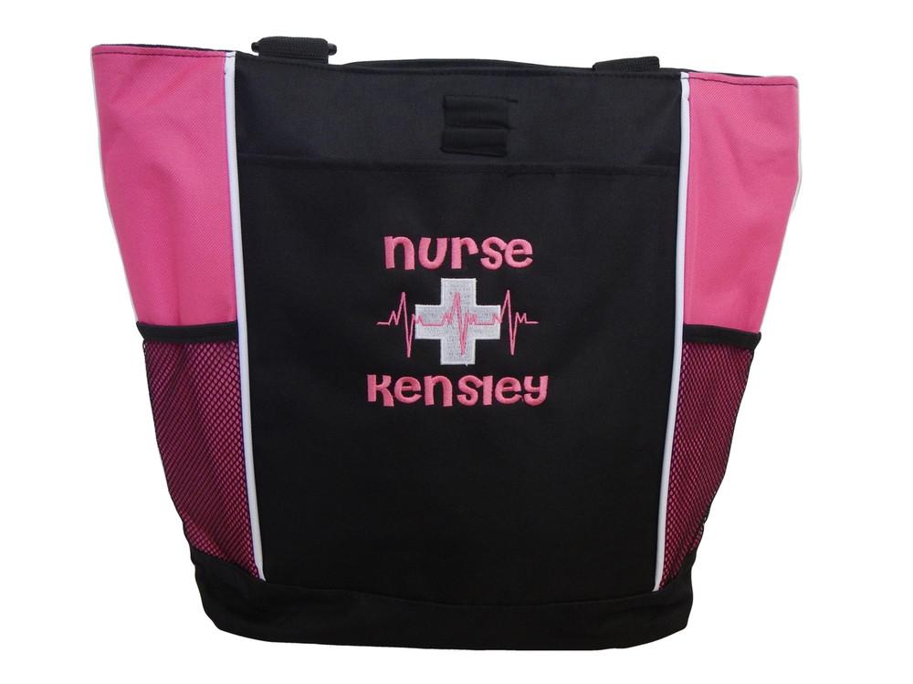 Heartbeat First Aid Cross EKG Hot Pink Nurse Nursing Student RN BSN LVN CNA LPN MSN Paramedic Tote Cheri Font