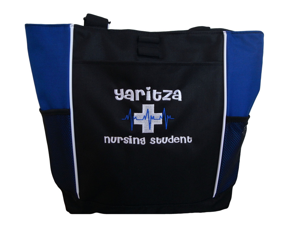 Heartbeat First Aid Cross EKG Royal Blue Nurse Nursing Student RN BSN LVN CNA LPN MSN Paramedic Tote Cheri Font