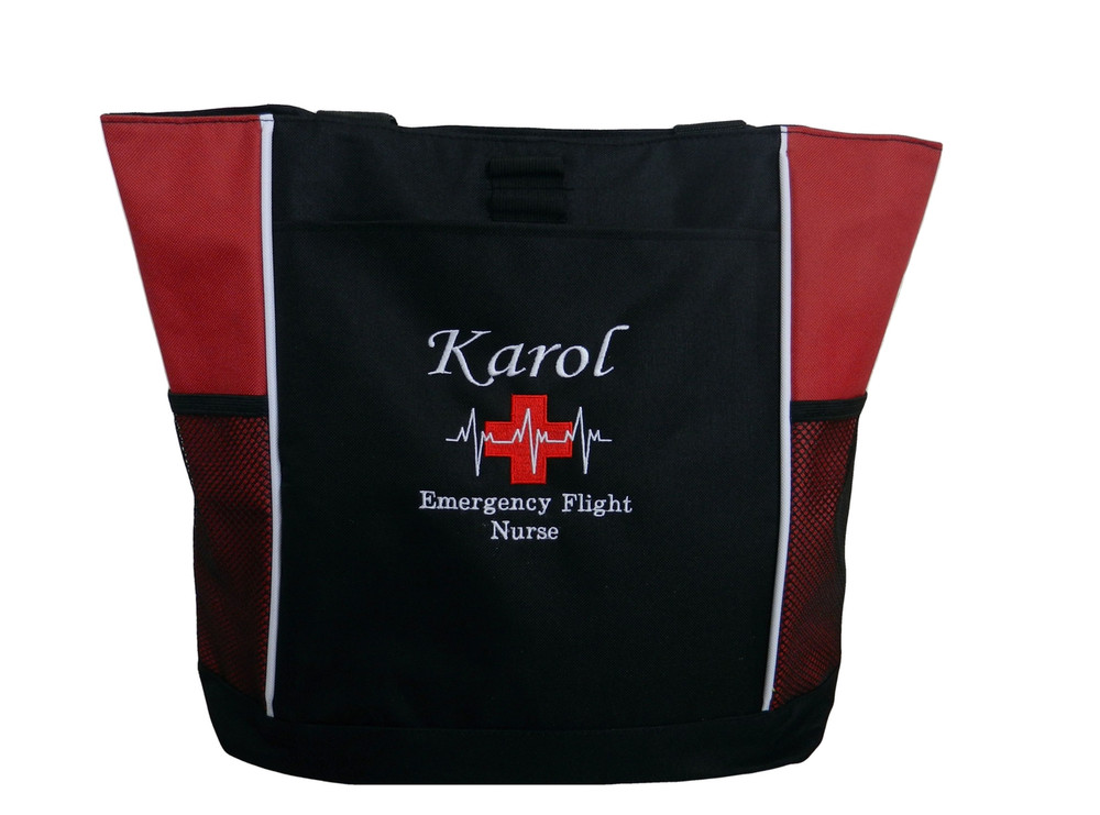 Heartbeat First Aid Cross EKG EMERGENCY Flight Nurse Nursing Student First Responder Cardiac Care RED Tote Bag Font Style MONO CORSIVA