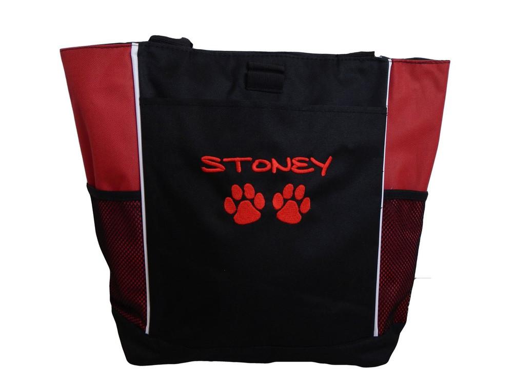 Paw Prints Vet Tech VT Dog Stuff Monogrammed Custom Embroidered RED Tote Bag Font Style MARKER CAP