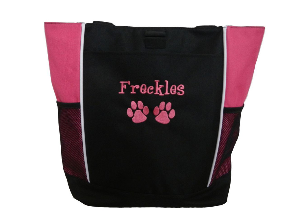 Paw Prints Vet Tech Veterinary Assistant Doctor Dog Groomer Walker Pet Sitting Custom Embroidered HOT PINK Tote Bag Font Style Girlz