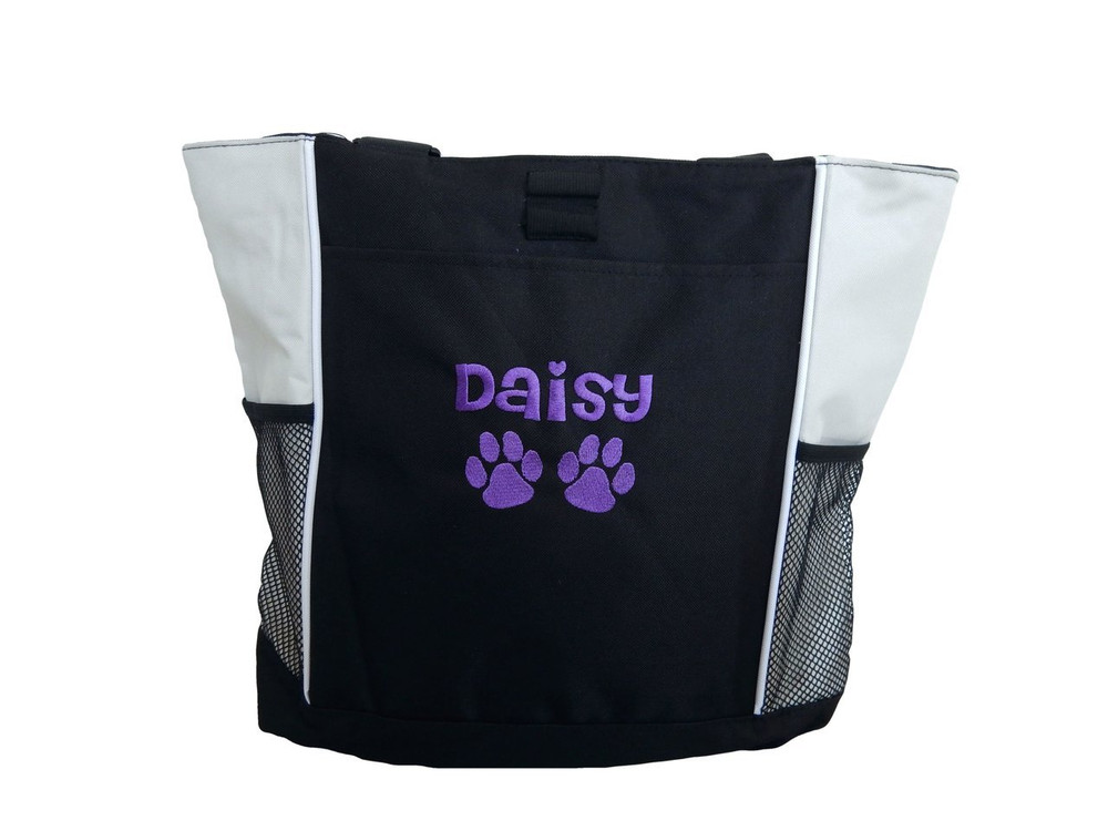 Paw Prints Vet Tech Veterinary Assistant Doctor Dog Groomer Walker Pet Sitting Custom Embroidered STONE Purple Tote Bag Font Style Cheri