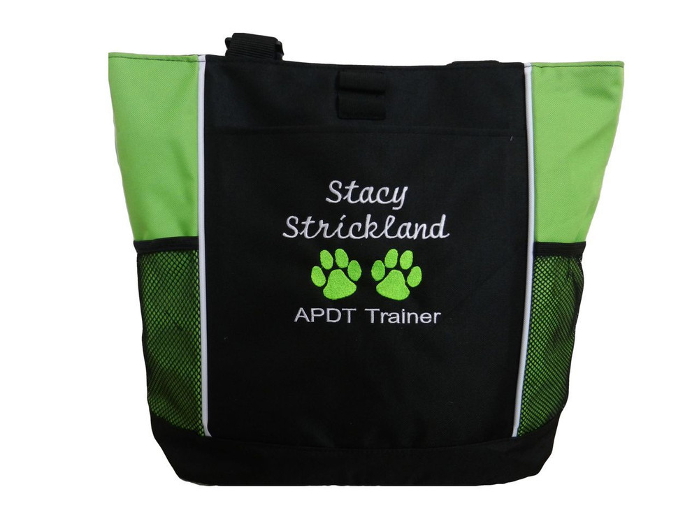 Paw Prints Vet Tech APDT Trainer Doctor Dog Groomer Custom Embroidered LIME GREEN Tote Bag Font Style Cursive