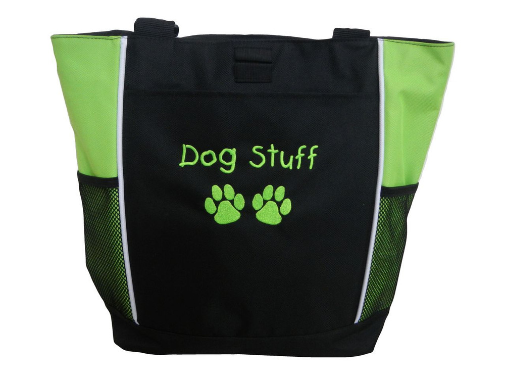 Paw Prints Vet Tech Veterinary Assistant Doctor Dog Groomer Walker Pet Sitting Custom Embroidered LIME GREEN Tote Bag Font Style Childs Play