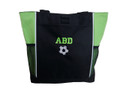 Soccer Ball Sports Custom Personalized Tote Bag Lime Green VARSITY Font