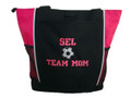 Soccer Ball Sports Custom Personalized Tote Bag Hot Pink VARSITY Font