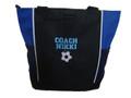 Soccer Ball Sports Coach Custom Personalized Tote Bag Royal Blue VARSITY Font