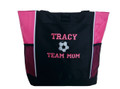 Soccer Ball Sports Team Mom Custom Personalized Tote Bag Hot Pink VARSITY Font