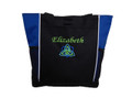 Celtic Trinity Heart Ireland ROYAL BLUE Aqua Lime Green Custom Personalized Zippered Tote Bag Font Style CALLIGRAPHY