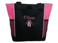 Ballet Shoes Ballerina Dancer HOT PINK Zippered Tote Bag Font Style CASUAL SCRIPT