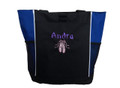 Ballet Shoes Ballerina Dancer ROYAL BLUE Zippered Tote Bag Font Style BAMBOO