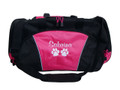 Paw Prints Medical Vet Doctor Tech RVT Personalized Embroidered HOT PINK DUFFEL Font Style CASUAL SCRIPT