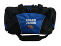 Football Coach Mom Team Personalized Embroidered ROYAL BLUE DUFFEL Font Style VARSITY