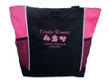 Autism Mom Grandma Advocate Teacher SLP Puzzle Pieces Personalized Embroidered Zippered  TROPICAL HOT PINK Tote Bag Font Style CASUAL SCRIPT