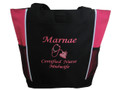 Doula Belly Heart Nurse Nursing Mother Baby RN BSN CCE CLC Certified Midwife Personalized Embroidered Zippered TROPICAL HOT PINK Tote Bag Font Style MONO CORSIVA