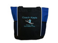 Gymnast Leaping Gymanstics Leaping Splitz ROYAL BLUE Zippered Tote Bag Font Style ARIAL