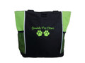 Paw Prints Vet Tech Veterinary Assistant Doctor Dog Groomer Walker Pet Sitting Custom Embroidered LIME GREEN Tote Bag Font Style Casual Script