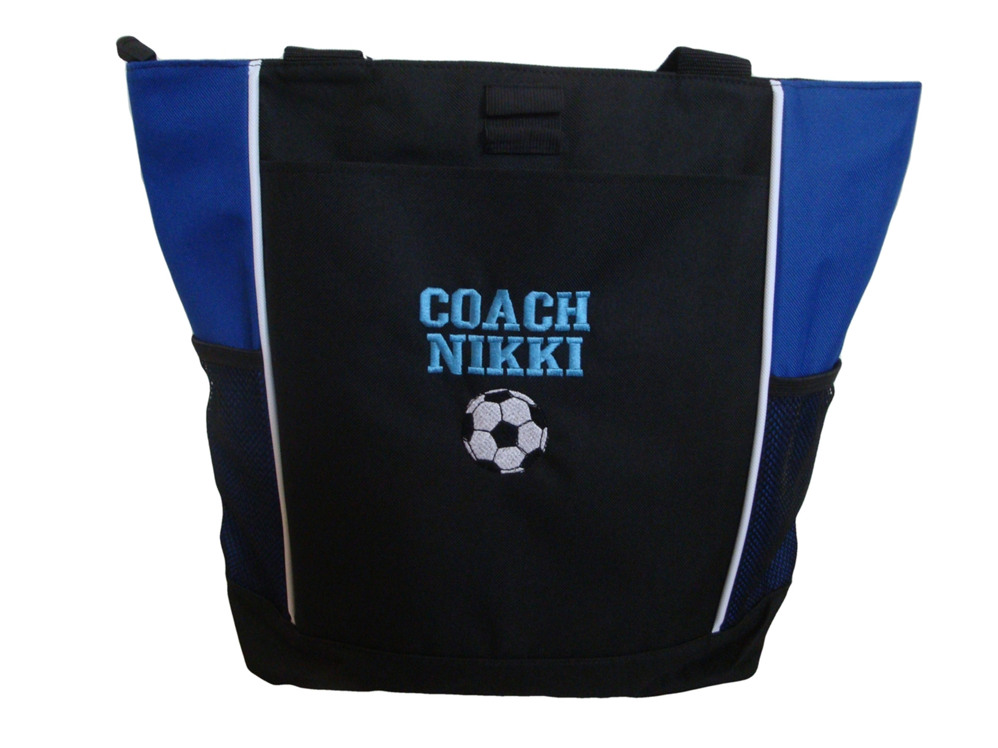 Soccer Ball Personalized Embroidered Zippered Tote Bag