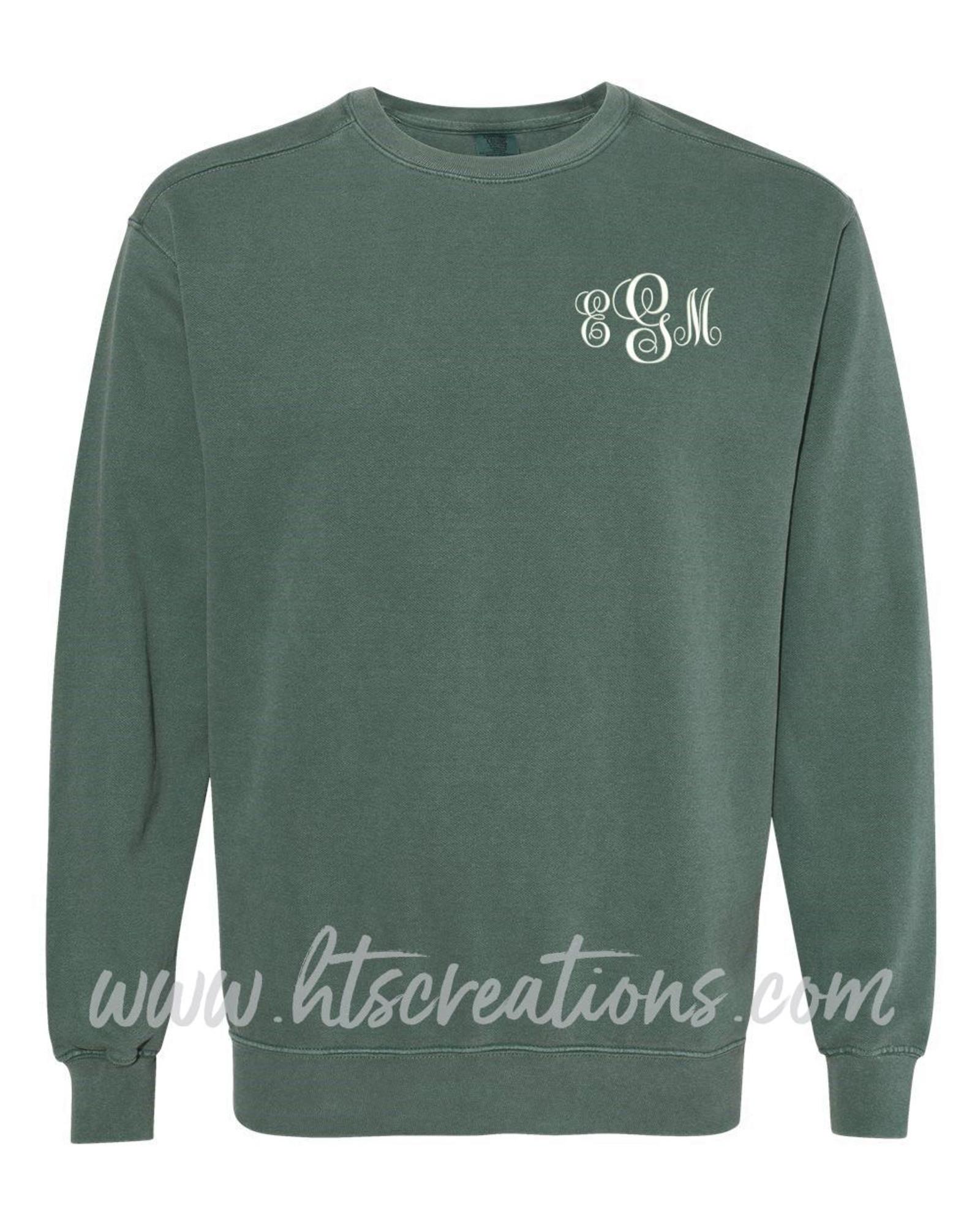 Pick your Fabric Custom Plus Sizes- Monogrammed Applique Comfort Colors Crew Neck Sweatshirt Unisex