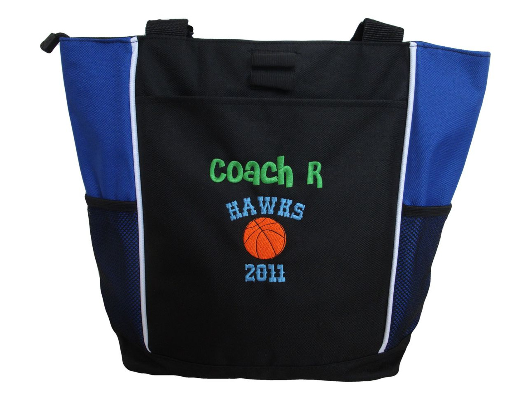Basketball Team Coach Mom Personalized Embroidered Zippered Tote Bag 3c4f692b6c451