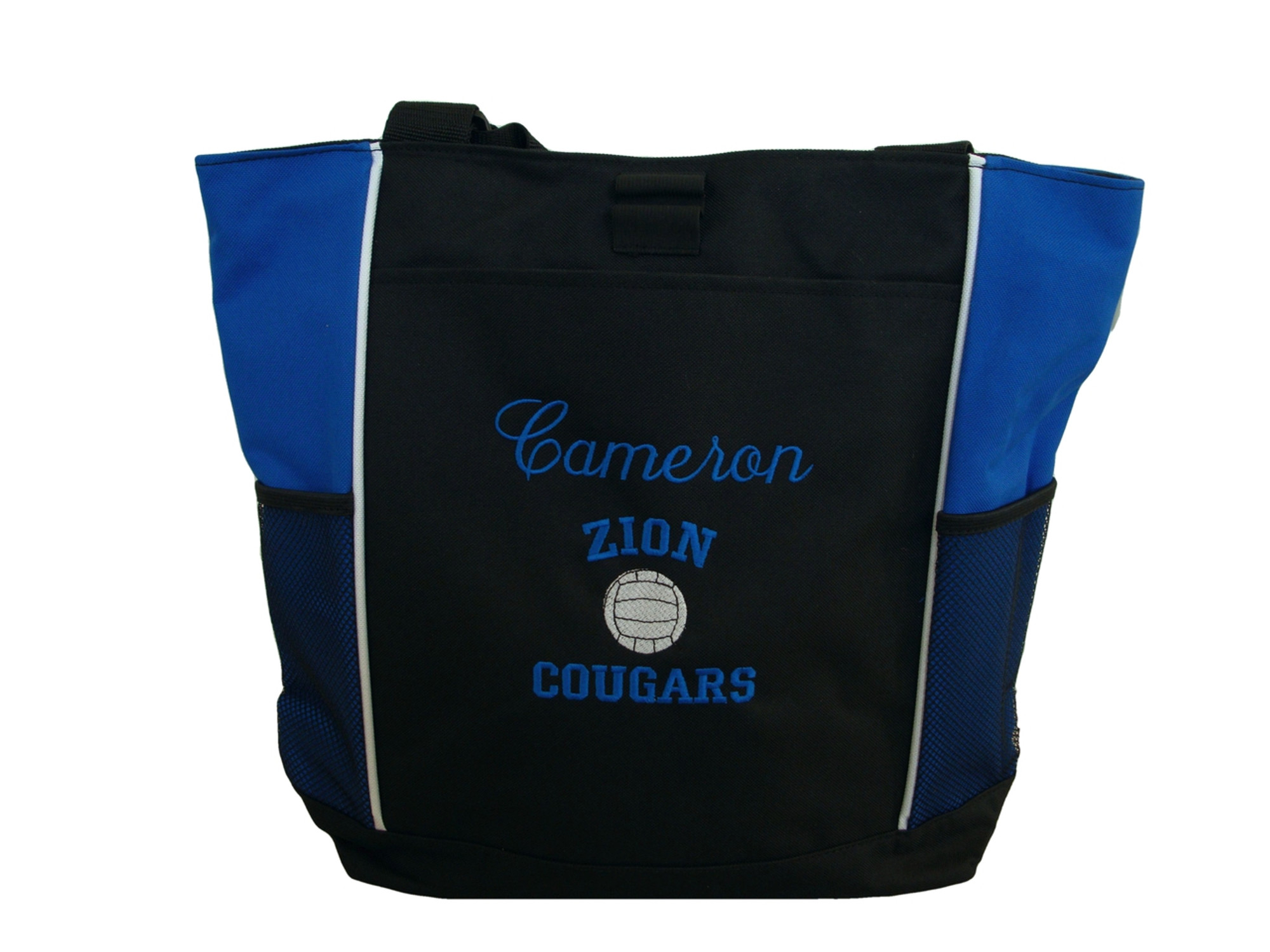 ... Volleyball Sports Team Mom Custom Personalized ROYAL BLUE Tote Bag Font  Style ANNIVERSARY   VARSITY ... 4f8f116506704