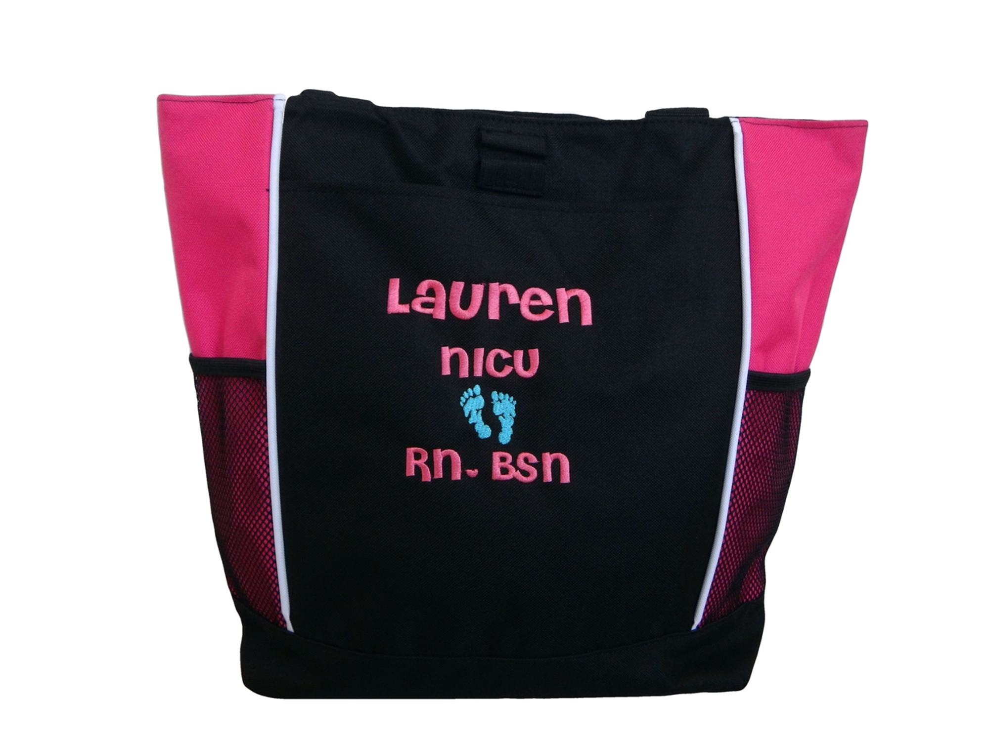 Baby Feet Baby Nursing Student Rn Bsn Personalized Embroidered Zippered Tote Bag