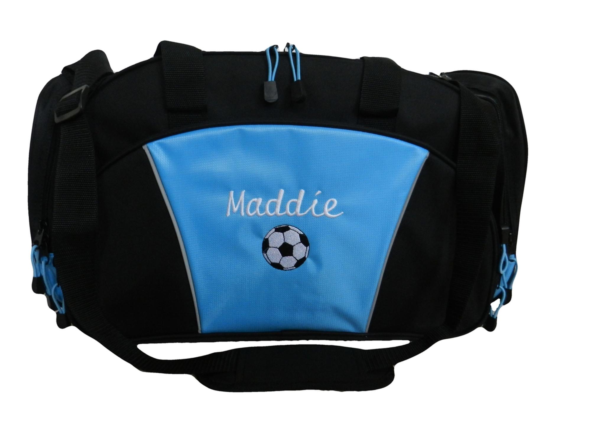 29a7d34da ... Soccer Ball Coach Mom Team Personalized Embroidered LIGHT BLUE DUFFEL  Font Style CURSIVE ...