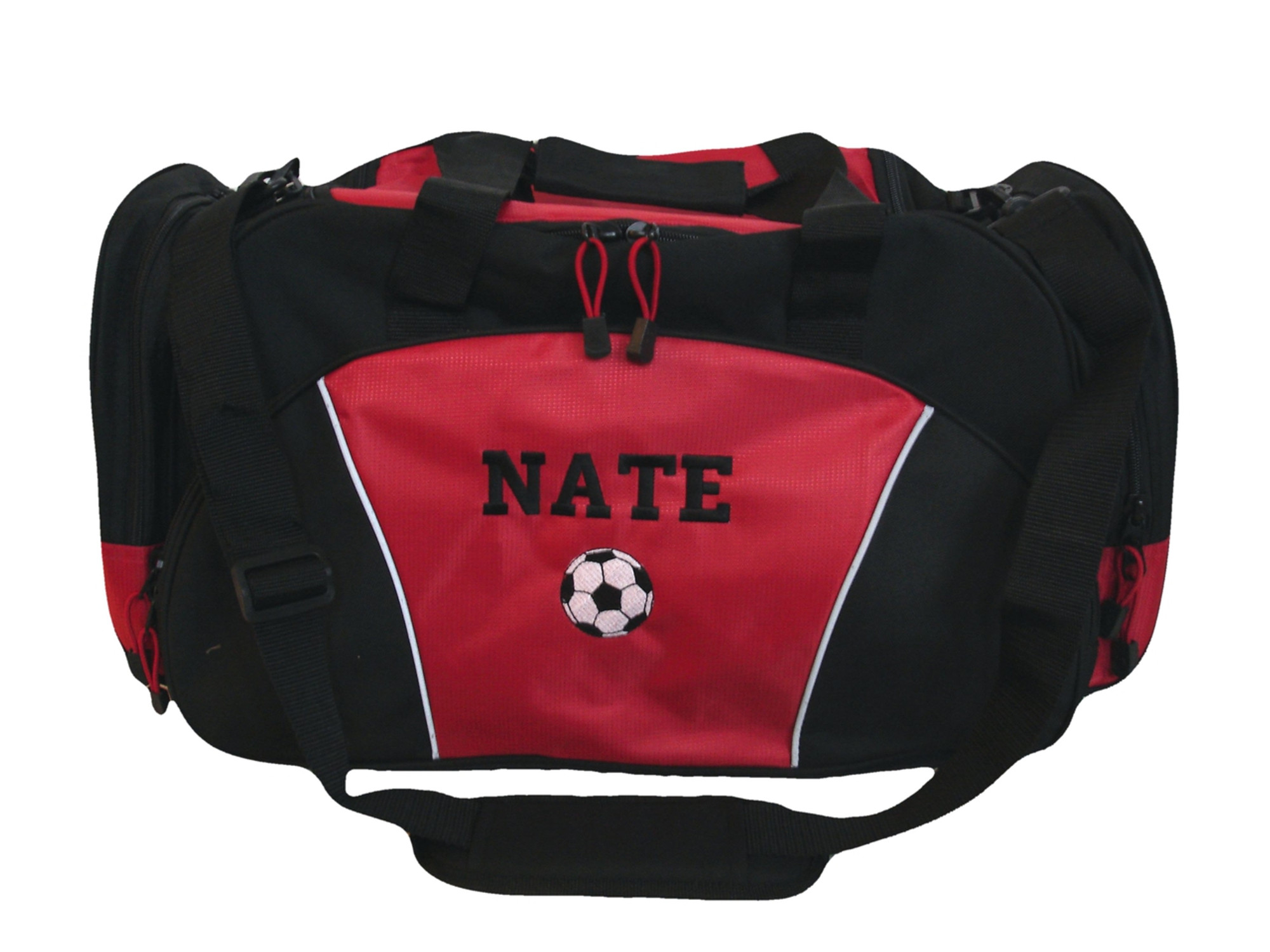 bbc8ed959 Soccer Ball Coach Mom Team Personalized Embroidered RED DUFFEL Font Style  VARSITY ...