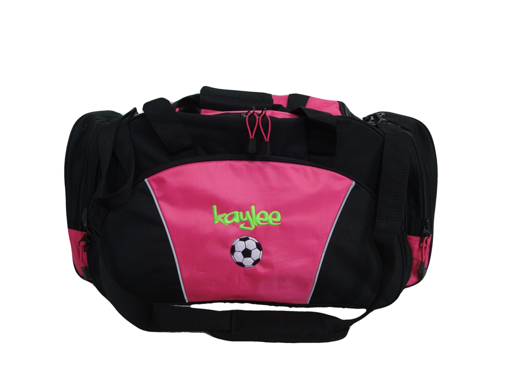 dc0ce01b1 ... Soccer Ball Coach Mom Team Personalized Embroidered TROPICAL HOT PINK  DUFFEL Font Style GRAFFITI ...