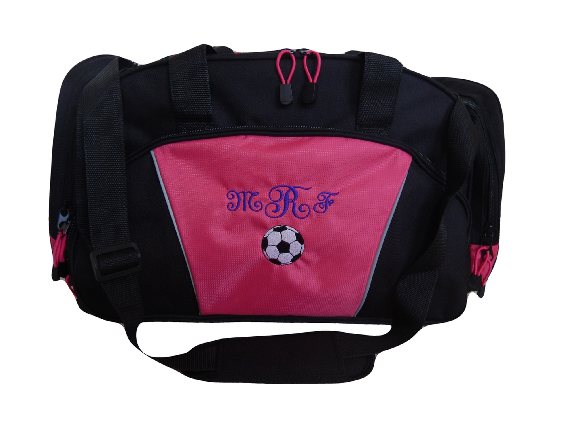 689f31ea2 ... Soccer Ball Coach Mom Team Personalized Embroidered TROPICAL HOT PINK  DUFFEL Font Style FRENCH SCRIPT ...