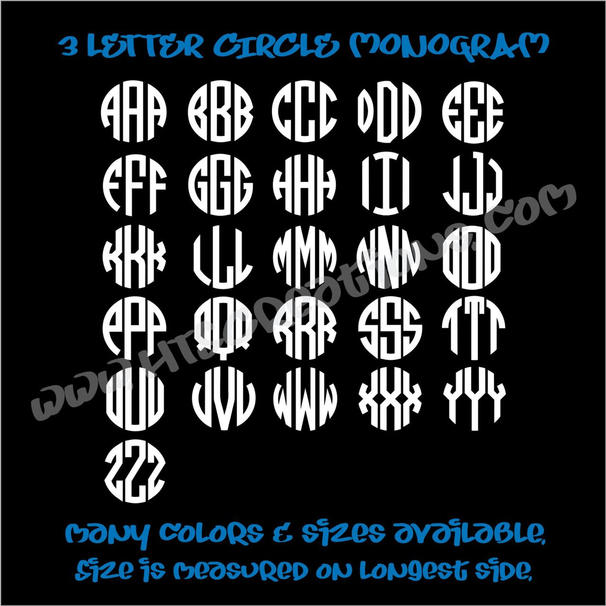 3 Letter Circle Initial Monogram Vinyl Decal Sticker Personalized