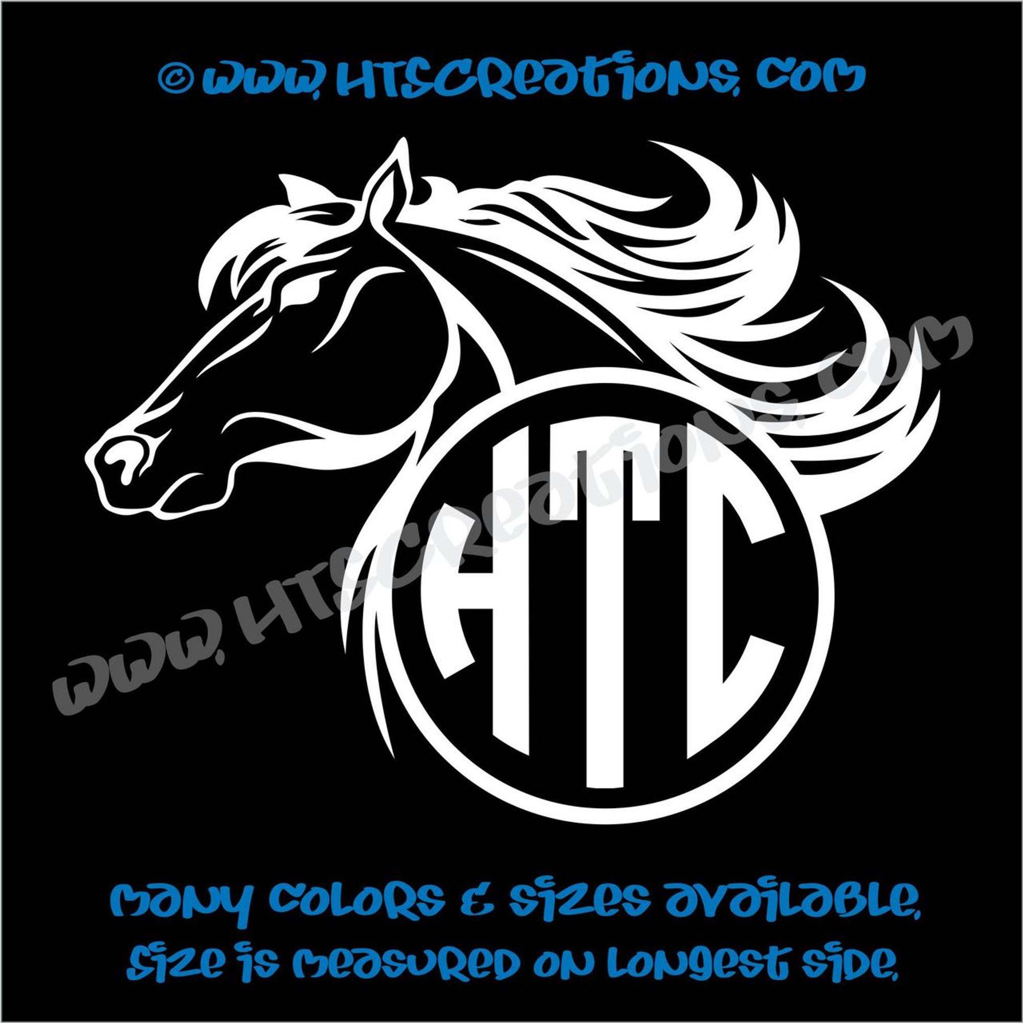 Horse Head Equestrian Rodeo Western Circle Monogram Vinyl Car Decal Sticker Rescue