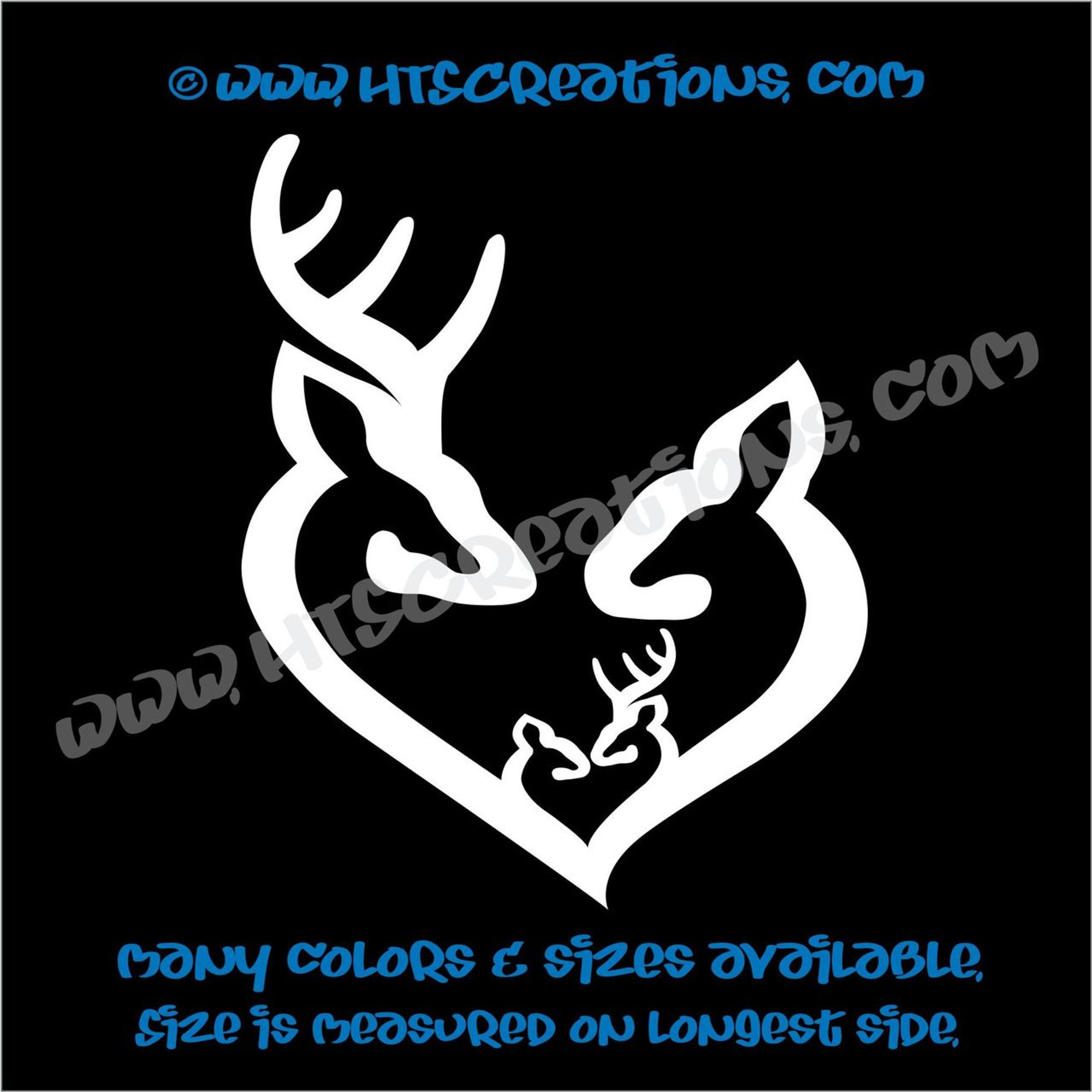 Deer doe family hunting buck elk mom dad baby kids love vinyl car truck boat decal