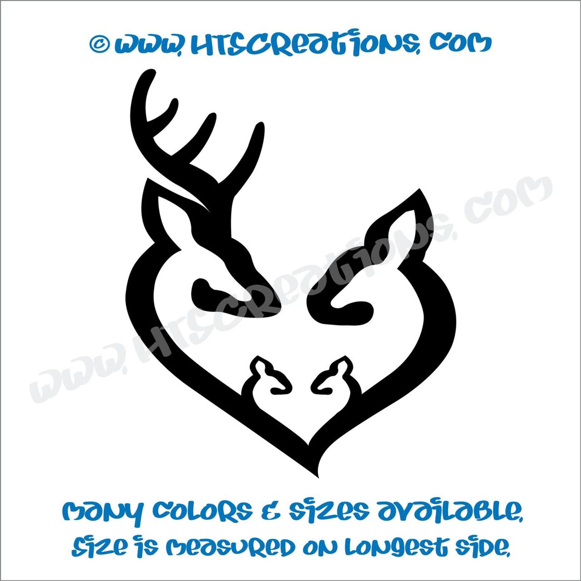 Deer Buck Doe Heart vinyl decal Hunting Fishing Game Car Boat ATV Truck