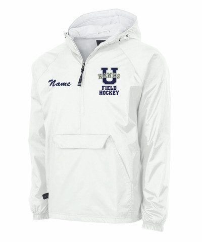 Urbana Hawks Half Zip Pullover Nylon FIELD HOCKEY Lightweight Jacket Charles River Personalization Available Many Colors SZ S-3XL  WHITE with NAME PERSONALIZATION