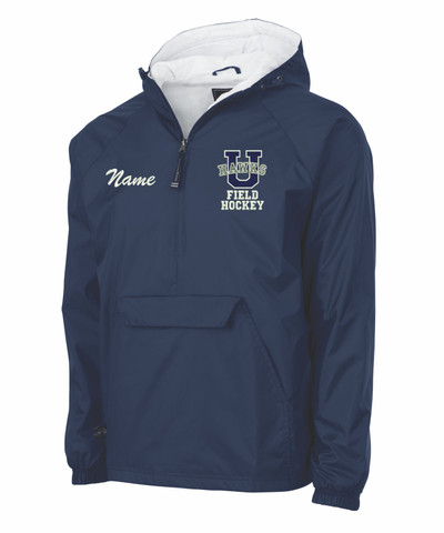 Urbana Hawks Half Zip FIELD HOCKEY Pullover Nylon Jacket Charles River Personalization Available Colors Navy or Black YOUTH SZ S-XL NAVY with NAME PERSONALIZATION