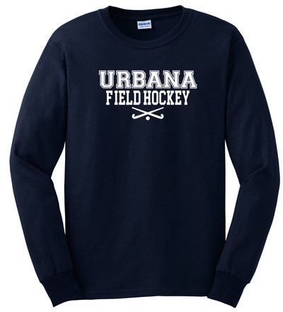 Urbana FIELD HOCKEY Sticks T-shirt Cotton LONG SLEEVE Many Colors Available YOUTH SZ S-XL NAVY