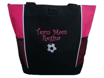 Soccer Ball Sports Team Mom Custom Personalized Tote Bag Hot Pink Curlz Font